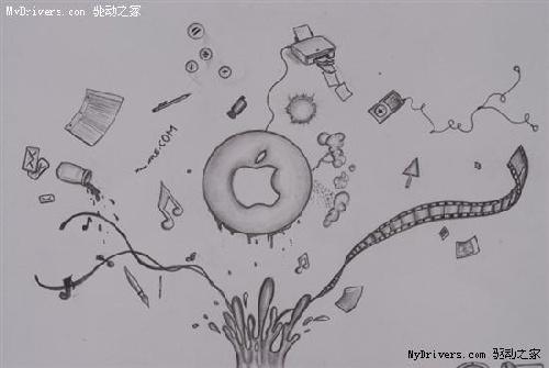 苹果上网本只是学生漂亮的铅笔画(组图)图片