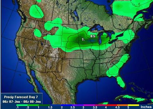 美国未来一周累计降雨预报-美国中西部作物带最新天气预报图表