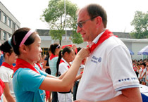 中德安联保险捐助的受灾学校复课典礼