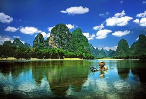 风景冷色调图案简单水彩画