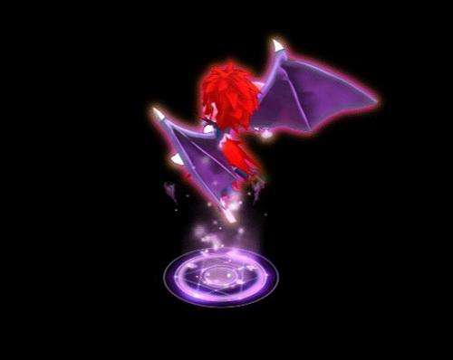 """""""痛""""的技能效果略有q版风格,从魔法阵中凌空跃出,展开绚丽的蝙蝠翅膀"""