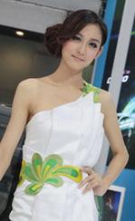 端庄典雅的白裙车模