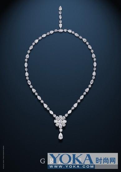 格拉夫铂金圆形,马眼形及梨形白色钻石项链 (钻石共重: 38.4克拉)