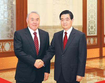 胡锦涛与哈萨克斯坦总统会谈图片