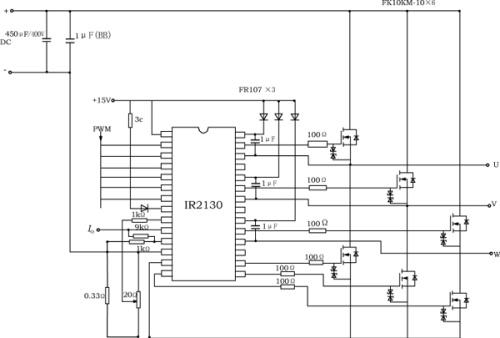 图2变频器驱动电路与主电路原理图