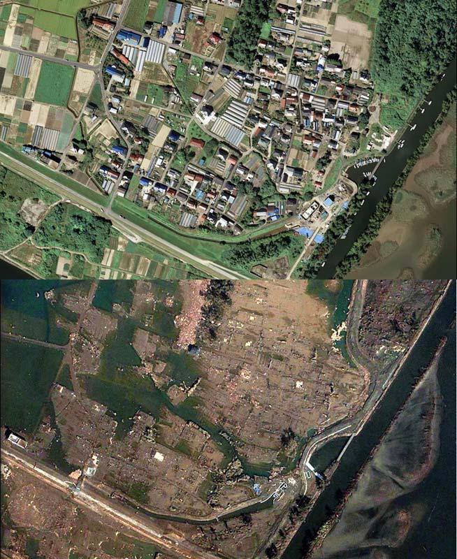 日本海啸地震前后对比图 高清 新闻频道