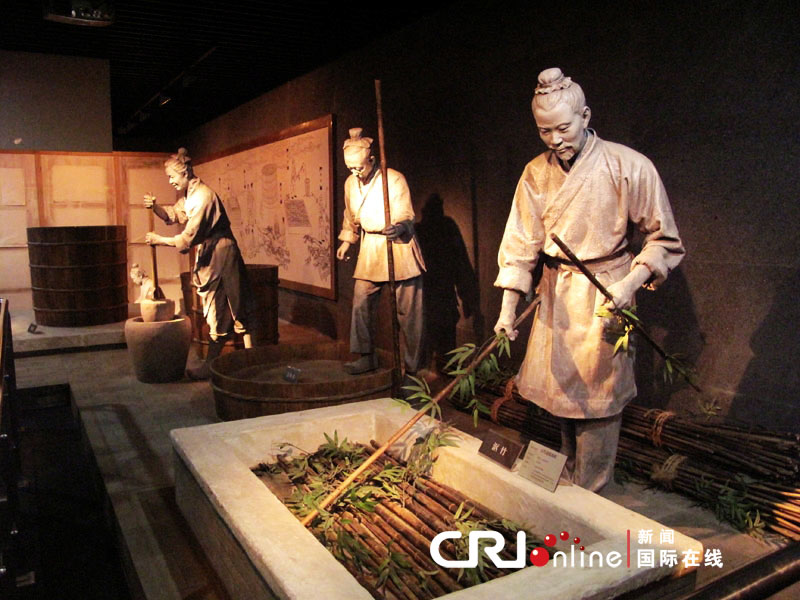文字博物馆对汉代造纸流程复原(摄影:李默)