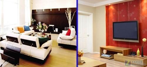 空间说明:狭长客厅较长的一侧为窗户,另一侧为墙面.