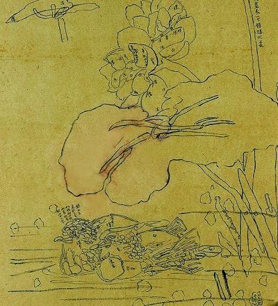 齐白石作画稿常用线描加笔记的方法,线描可以用来使形象精确,笔记