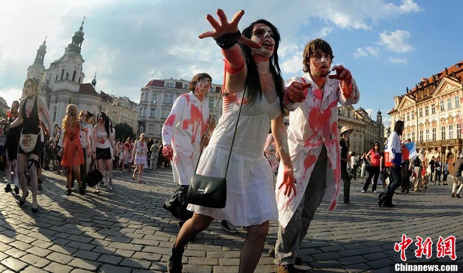 布拉格上演僵尸大游行高清图 新闻频道