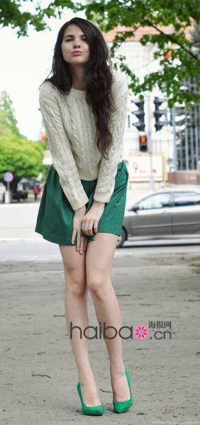 绿裙子搭配鞋子图片