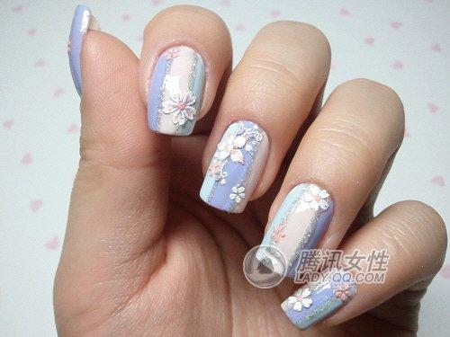 指甲甜美季 三款韩式美甲diy图片