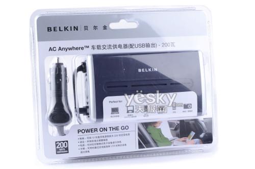 包装说明了这款产品的功能将12V直流电转换为220V交流电,可供笔记本、便携DVD播放器、MP3等设备供电。