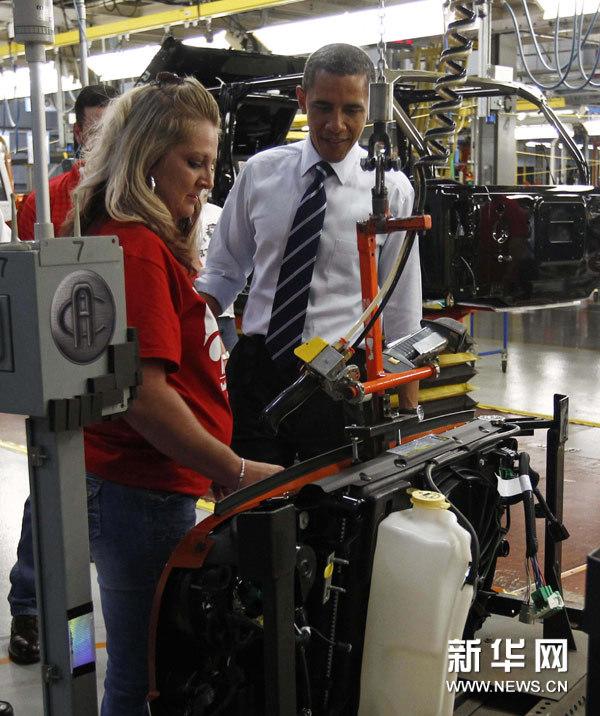 克莱斯勒汽车公司在俄亥俄州的工厂时说,美国汽车业东山再起高清图片