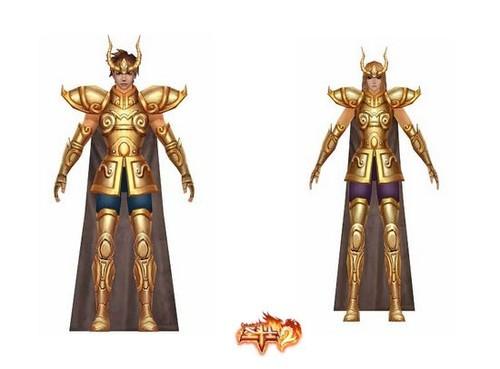 《圣斗士2》十二星座圣衣闪亮展示双子座女个摩羯座男图片