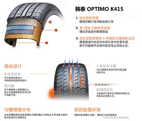 虽然同样使用韩泰品牌,但晶锐的radial k407级别却在k415之下,虽然