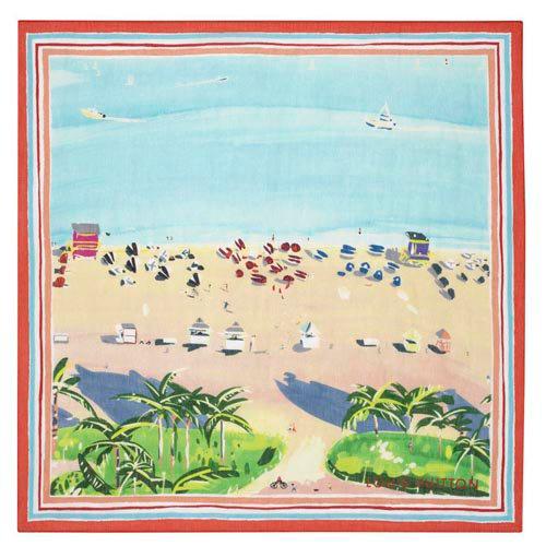 上面印有水彩画风格的图案,优雅的海滩风情充满诗意.-Louis