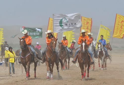 6月19日,银川赛马大会在灵武水洞沟风景区激情开赛。