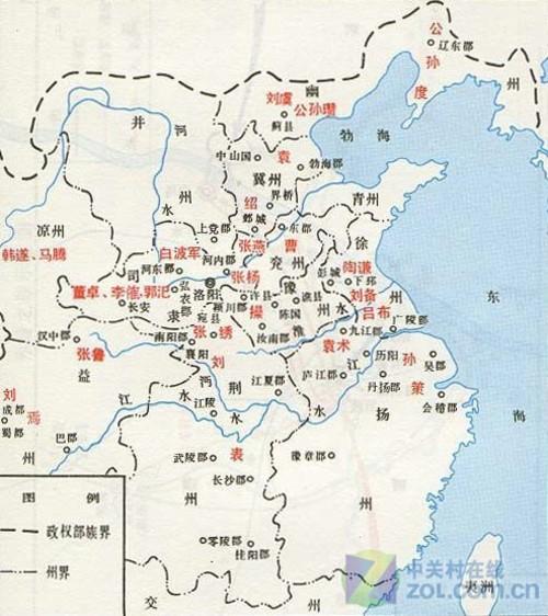 东汉末年群雄割据形势图-笑谈三国历史 戏说游戏中的三国官职
