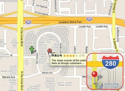 在谷歌地图上查找苹果总部所在位置