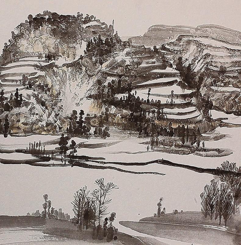 我研习多年家乡的雪景,自己也记不清画了多少幅画,只想借画笔抒发热爱